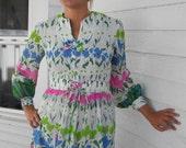 Vintage 60s Hippie Dress Maxi Floral Print White Flower Corset Belt M L