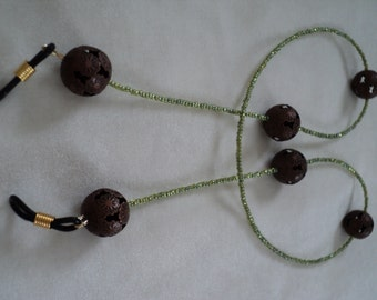 Pretty and Weightless Antiqued Copper and Spring Green Seed Bead Eyeglass Lanyard.