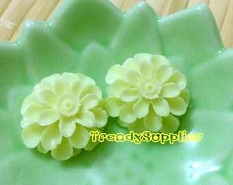 3 Layer Flower Cabochon, Tea Green, 6 pcs (126)