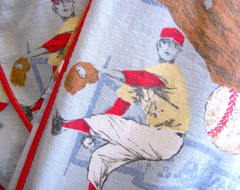 Vintage Baseball Bed Spread - 1960s Cotton Sports Print - Boy's Single Bed Size - Footbal Track Crew Sports - Boy's Bedroom Mid Century Cool