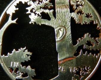 Tree Redwood Half Dollar Hand Cut Coin