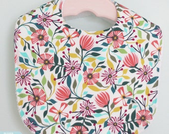 The Dressy Drooler Bib in Garden Party Tango fabric - Small flowers