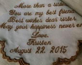 Embroidered Handkerchief to Bride from Sister