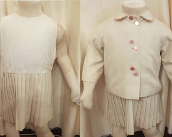 Antique Vintage Handmade 30s 40s Girls Ivory Cream Dress and Jacket 2 Piece Suit Set