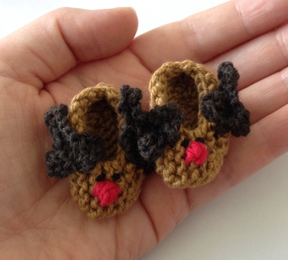 Baby shower decorations: mini reindeer baby booties/ baby shoes - decoration size only - 2 inches