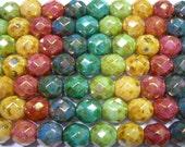 15 8mm Rainbow Picasso Luster Czech Fire Polish Glass Beads