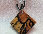 Black & White Ebony Exotic Wood Pendant Necklace non tarnish silver Wire wrap black beads Handmade