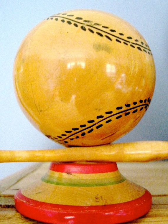 Vintage Baseball And Bat Wooden Pencil Holder By