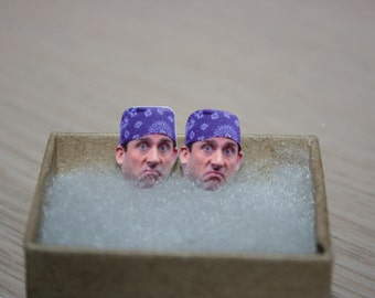 Steve Carell Prison Mike Michael Scott The Office Post Stud Face Earrings Jewelry