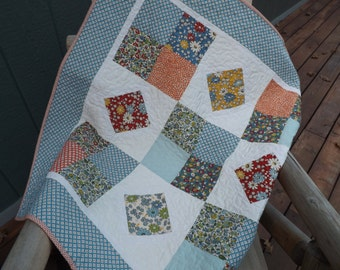 Baby Quilt Boy Girl Modern Patchwork Gender Neutral Vintage reproduction fabric  Baby Quilt