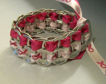 Recycled Soda Pop Can Tab Bracelet Pink Ribbon Breast Cancer Awareness