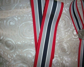 3 yds.of striped grosgrain in red, white, and navy, more avail.