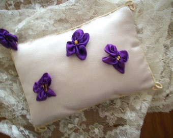 1 french antique silk Ribbon work violet hand done 1920s color 1/2""