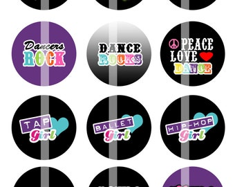Dance Girl - 1 Inch Round - Digital Collage Sheet for making Bottle Cap Pendants,  Cupcake toppers, and more - Instant Download