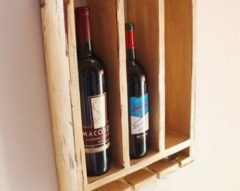 Wood Wine Rack 3 Bottles and Glass Holder