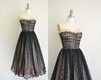 vintage 1950s dress / pink and black lace party dress / 1950s strapless dress
