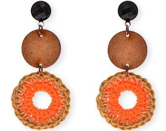 Long Earrings, Orange crochet hoop and wood Hippie earrings, Graphic Dangle earrings, Trendy geometric Jewelry