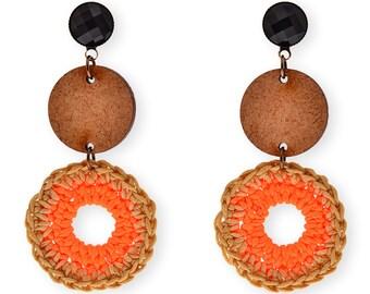 Orange Statement earrings, Wooden circle Dangle earrings, Bold Trendy wood and fiber fashion earrings