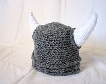 Viking preteen hat teenager gray white beanie photography prop cap horns braided Norse armor pirate costume grey soft helmet