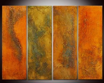 Original Abstract Art Painting Contemporary Colorful Large Modern Art on Canvas Orange Red Gray Brown - Made to order