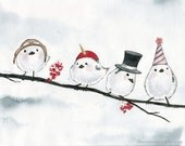 Winter Birds in Hats