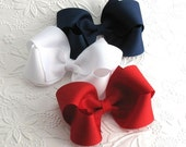 4th of July Bows, Red White and Blue Hair Bow Set, Patriotic Bows, Large 4 inch Bow, Toddler Bows, Classic Everyday Bows, Boutique Hair Bows