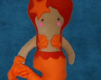 Orange Mermaid Plush Doll