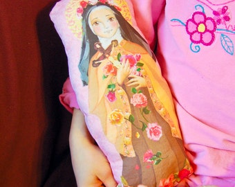 Saint Therese of Lisieux Fabric Doll KIT-  Little FLower Applique - Catholic Saint Doll Softie