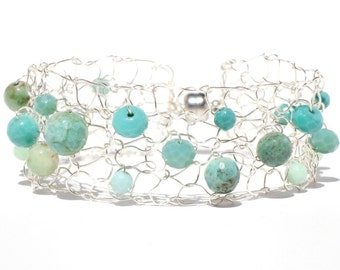 Turquoise bracelet silver cuff bracelet green opal small bracelet unique wire knit mesh chic beaded jewelry hot Summer pop of color