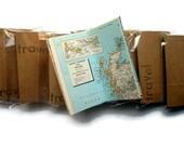 Wholesale - Travel Journals - 10 Mini Notebooks - Repurposed Brown Paper Bag Cover - Maps - Great for Resale - Road Trip Scrapbook