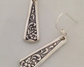 Floral Silver Dangle Earrings TANGIER 1969 Vintage Silverplate Spoon Jewelry