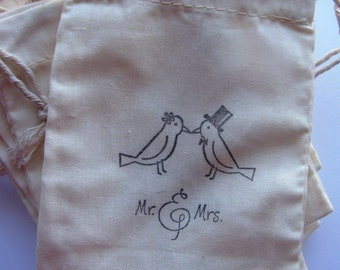 """25  """"Mr and Mrs Love Birds'  stamped muslin drawstring bags"""