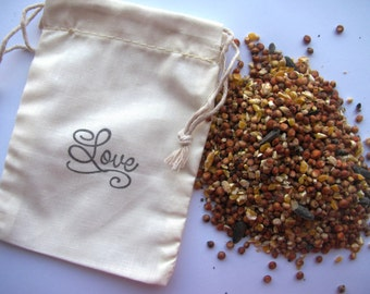 25 Bird seed filled muslin drawstring bags- hand stamped with script Love