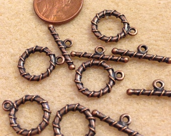 Twisted toggle, Antique Copper, 5 sets NICKEL FREE