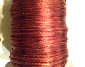 1mm Satin Cord, Mousetail / Rattail / Bugtail, Copper 5 yards