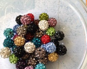 100 Wholesale Pave Rhinestone Beads, Disco Ball Beads, Shamballa Beads,  Various Colors, Round, 10mm,100 pcs