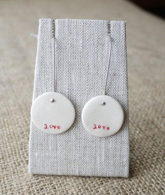 Love, Handmade Porcelain Earrings, Mrs Peterson Pottery