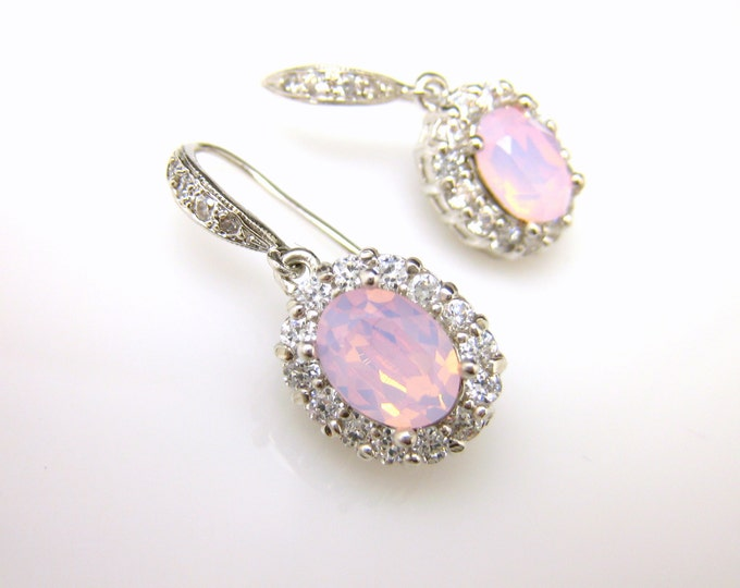 wedding bridal jewelry christmas party prom bridesmaid gift cubic zirconia rose water opal pink oval swarovski crystal silver hook earrings