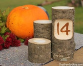 Table Number Log Candles Rustic Wedding / Cabin Decor Table Center Piece Primitive Home
