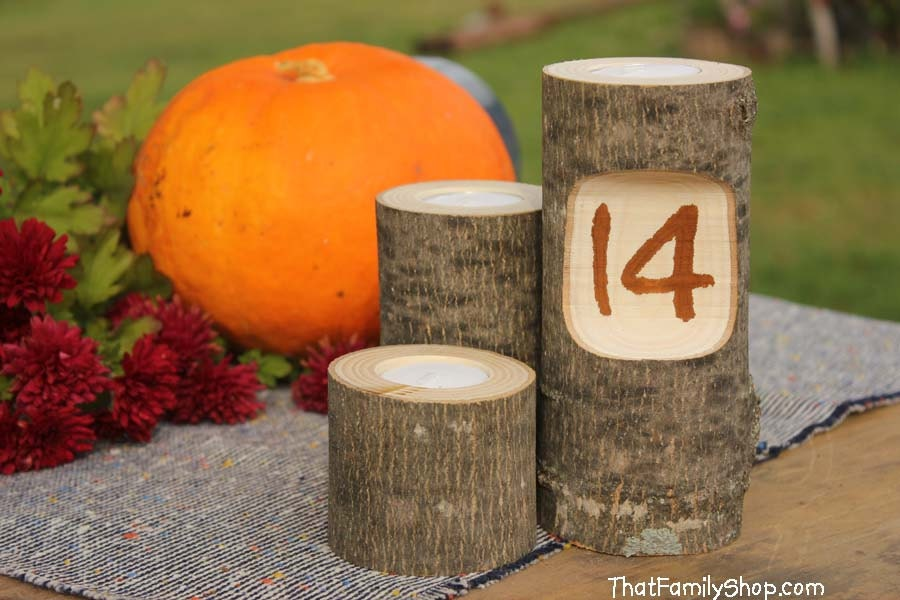 Shop Checkolite International 4 Light Ashfield Rustic: Table Number Log Candles Rustic Wedding / Cabin Decor Table