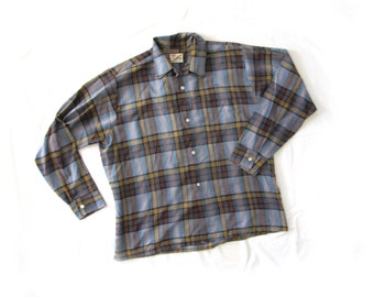 vintage mens shirt plaid 1970s clothing button down mustard brown blue size large l