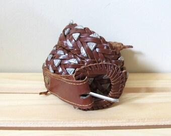 SALE vintage belt 80's braided brown leather 1980s silver western metal size large l