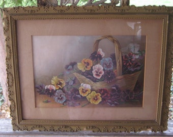 The Perfect Gift For Mom  Victorian Framed Print Basket Full Of Pansy's