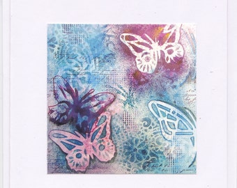 Note / greeting card - Blue/ purple  Butterflies (print of original mixed media collage)