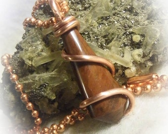 Oregon Mohogany Obsidian Crystal Point Copper Wire Wrapped Pendant Necklace