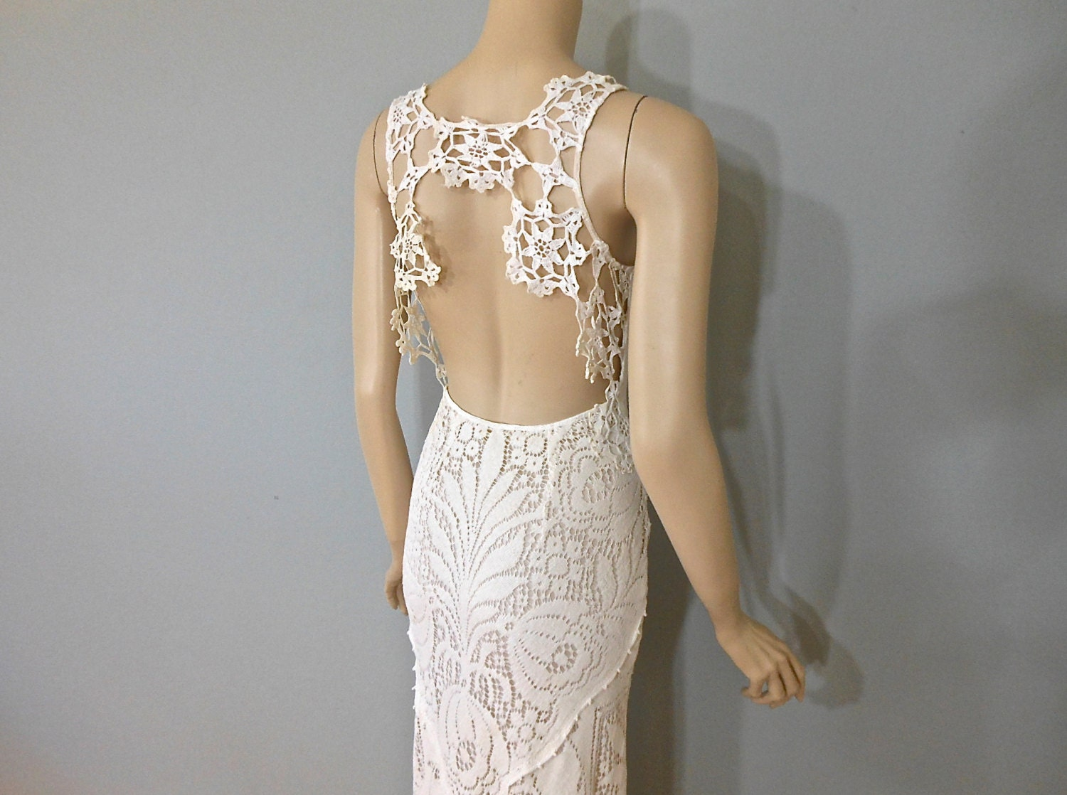 Vintage Style Boho WEDDING Dress Crochet LACE Wedding Dress