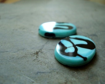 Bright Aqua and Black Vintage Glass Oval Cabochons - 8x15mm - One Pair - Modern, Retro