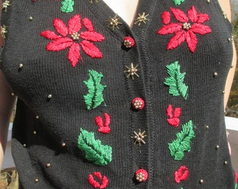 poinsettia, christmas vest, tacky christmas vest, tacky christmas sweater,christmas sweater, holiday sweater, christmas clothes