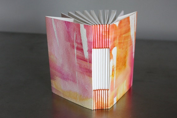 RESERVED for Candice: One-of-a-kind handmade book with pink and orange watercolor covers