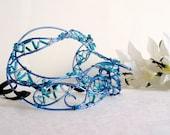 blue wire masquerade mask, womens, costume, accessories, handmade